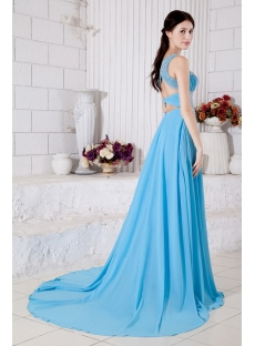 Beaded One Shoulder Turquoise Blue Charming Evening Dress 2013 IMG_7304