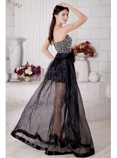 Black Cute Beaded Sweetheart Short with Detachable Long Skirt Quinceanera Dress 7182