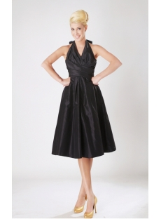 Black Halter Taffeta Junior Prom Dress with Low Back SOV112009