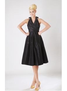 Black Halter Taffeta Junior Prom Dress with Low Back SOV112009