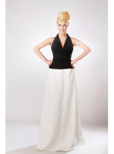 Black and White 2 Tone Bridesmaid Dress with Halter Neckline SOV111010