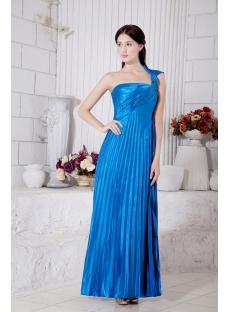 Blue Empire One Shoulder Pleats 2013 Long Prom Dress IMG_7286