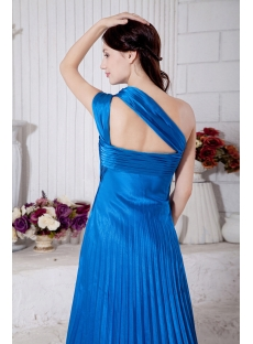 Blue Empire One Shoulder Pleats 2013 Long Prom Dress IMG_7286