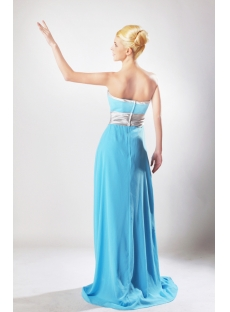 Blue Floor Length Chiffon Bridesmaid Dress with Silver Waistband SOV112003