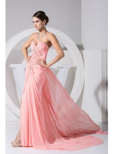 Brilliant Coral Formal Celebrity Dresses with Train WD1