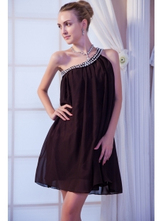 Brown Beaded One Shoulder Homecoming Dress IMG_9971