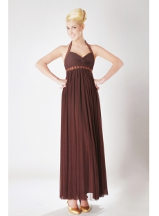 Brown Halter Ankle Length Maternity Bridesmaid Dresses SOV111008