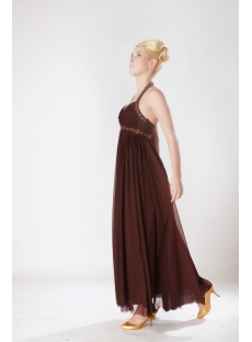 Brown Halter Ankle Length Maternity Bridesmaid Dresses SOV111008