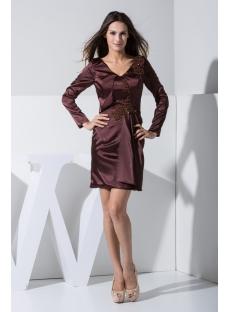 Brown Long Sleeves Mother of Bride Dresses Petite Short WD1-014