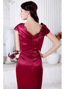 Burgundy Knee Length Short Mother of Groom Dess with Cap Sleeve IMG_7066