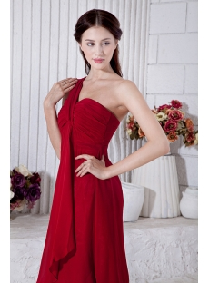 Burgundy One Shoulder Tea Length Simple Homecoming Dress IMG_6933