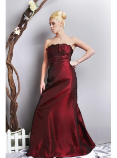 Burgundy Strapless Elegant Plus Size Prom Dress SOV111018