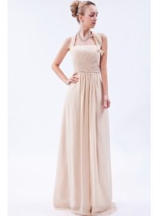 Champagne Charming Long Chiffon Modest Bridesmaid Dress IMG_9607