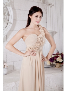 Champagne Floral One Shoulder Prom Dresses for Pregnant People IMG_7518