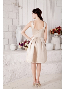 Champagne Formal Simple Bridesmaid Dress Modest Tea Length under $100 IMG_7256