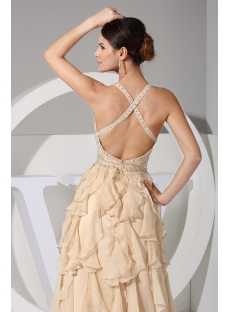 Champagne Luxurious Criss-cross Celebrity Party Dress WD1-061