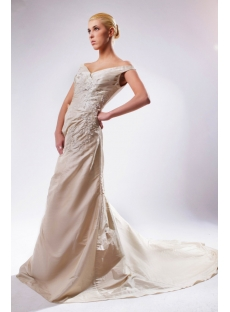 Champagne V-neckline Mature Bridal Gown UK SOV110016