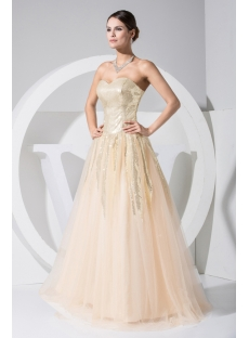 Champagne with Gold Sequins 15 Quinceanera Dress WD1-020