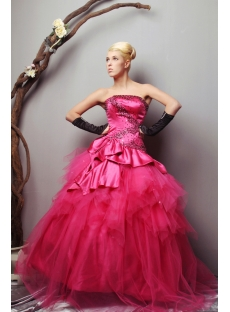Charming Strapless Long Fuchsia quinceanera dresses Cheap SOV113006