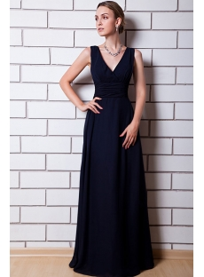 Cheap Dark Navy V-neckline Long Modest Bridesmaid Dresses IMG_0787