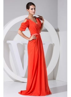 Cheap Plus Size Orange Prom Dresses with Short Sleeves WD1-042
