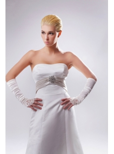 Cheap Strapless Simple Ivory Elegant Bridal Gown with Champagne Sash SOV110007