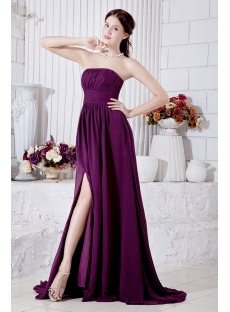 Chiffon Grape Purple Military Ball Gown with Side Split IMG_7005