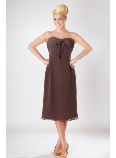 Chocolate Chiffon Knee Length Empire Plus Size Bridesmaid Dresses SOV112007