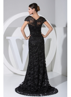 Classical Black Lace Formal Evening Dress with Cap Sleeves WD1-023