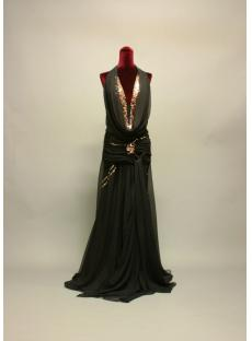 Cowl Black with Gold Plus Size Prom Dress IMG_7169