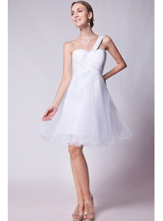 Cute One Shoulder White Short Quinceanera Dress IMG_1265