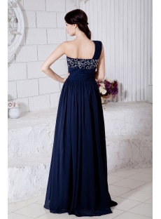 Dark Blue Chiffon Maternity Ball Gowns with One Shoulder IMG_7470