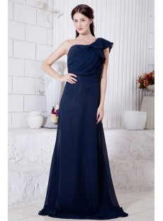 Dark Blue Elegant Formal Modest Bridesmaid Dress with One Shoulder IMG_7081