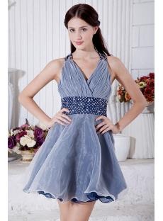 Dark Navy and Ivory Mini Length Criss-Cross Back Sweet 16 Dress IMG_7213