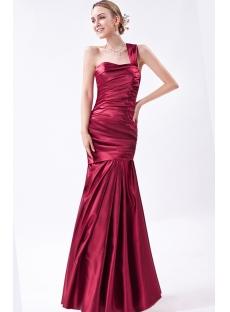 Decent One Shoulder Wine Mermaid Graduation Dresses IMG_1018
