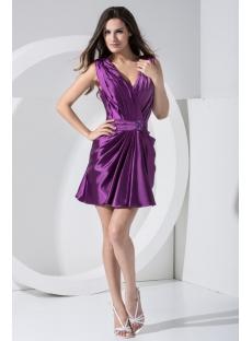Deep V-Neckline Purple Simple Homecoming Dress Mini under $100 WD1-006