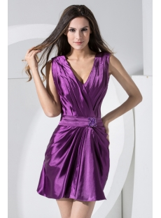 Deep V-Neckline Purple Simple Homecoming Dress Mini under $100 WD1-006