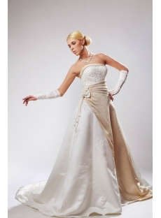 Elegant Classic White Bridal Gown with Champagne Trim SOV110031