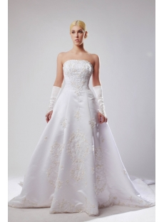 Elegant Strapless Satin Plus Size Bridal Gown with Train SOV11020