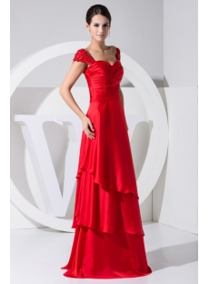 Exquisite Long Red Mother of Bride Dress with Cap Sleeves WD1-030