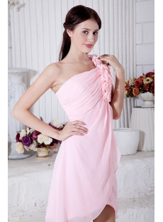 Flower One Shoulder Chiffon Pink Short Junior Prom Dress IMG_7037