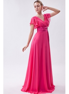 Formal Water Melon Glamorous V Evening Dress with Butterfly Sleeves IMG_1075