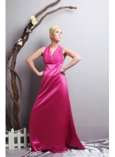 Fuchsia Halter Plus Size Prom Dress with Sash SOV111021