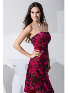 Fuchsia and Black Asymmetrical Printed Prom Dress WD1-012