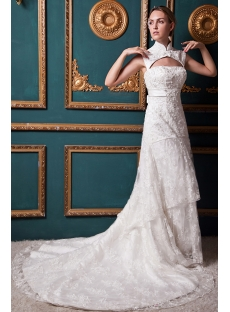 Generous Detachable High Neckline Jacket Luxurious Lace Wedding Dress IMG_1358