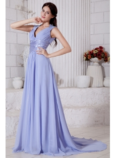 Generous Lavender Deep V-neckline 2012 Evening Dress with Keyhole IMG_7631