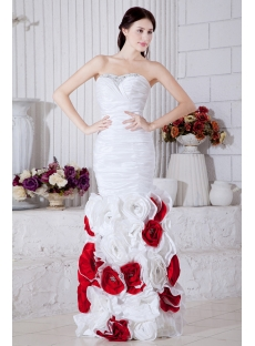 Gentle Floral 2013 Mermaid White and Red Ball Gown Dress 2013 IMG_7245