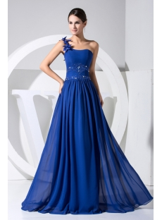 Gentle Royal Blue One Shoulder Military Evening Dress WD1-025
