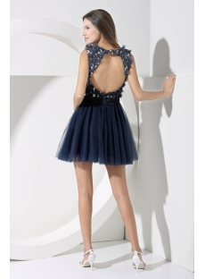 Glamorous Navy Mini Sweet 16 Dress with Flowers WD1-055