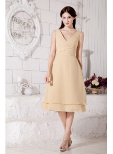 Gold Chiffon Modest Bridesmaid Dresses with V-Neckline Discount IMG_7480